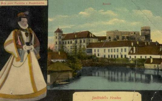 Castle Jindrichuv Hradec and Lady Perchta from Rozmberk (White Lady) - entrance in Photogallery